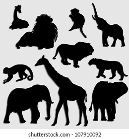 Abstract creative nature modern wild animal silhouette set vector background
