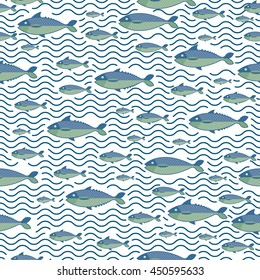 Abstract creative sea fish pattern. Pattern sea fish background. Graphic illustration of menu design, packaging bags, recipes, textiles.