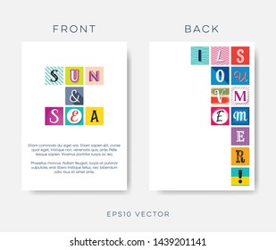 Abstract creative summer vector brochure design with letters