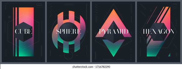 Abstract creative templates with various geometrical shapes on a bright gradient background, modern art, vector posters, postcards