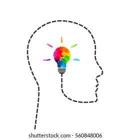 Abstract creative thinking and idea concept with profile line and lightbulb made of colorful paint