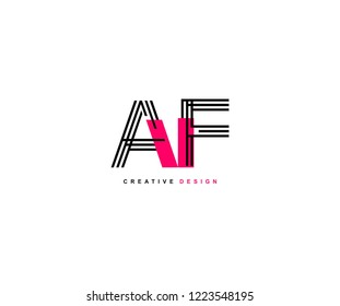 Abstract Creative Trendy Initial AF Lines Letter Logo Design Vector