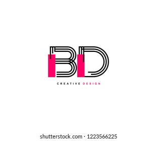 Abstract Creative Trendy Initial BD Lines Letter Logotype Design Vector Illustration
