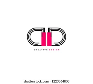 Abstract Creative Trendy Initial DD Lines Letter Logotype Design Vector Illustration