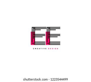 Abstract Creative Trendy Initial EE Lines Letter Logo Design Vector