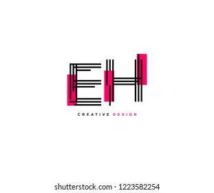 Abstract Creative Trendy Initial EH Lines Letter Logo Design Vector