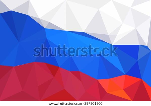 Abstract creative triangle geometrical mosaic Russian flag.