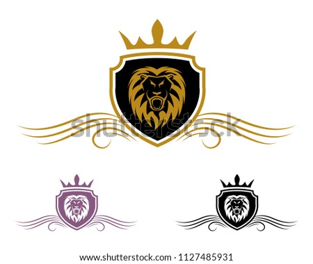 Abstract Crest Shield Logo Template Lion Stock Vector Royalty Free