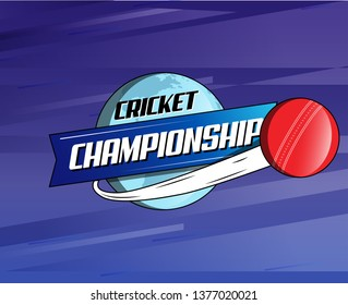 Abstract Cricket Ball World Championship Logo, Mnemonic, Symbol, Icon, Banner or Poster Design - Vector, Illustration.