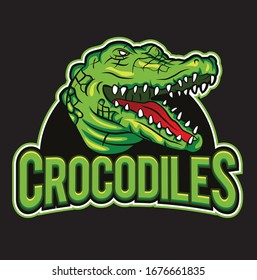 Abstract crocodiles mascot vector logo design