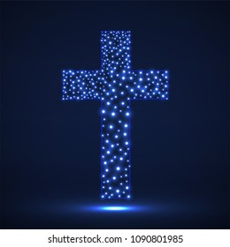 Abstract cross of glowing particles, christian symbol, abstract sign, vector illustration eps 10