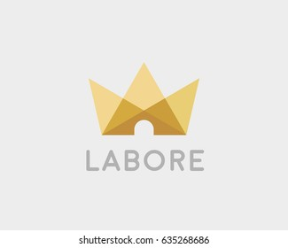 Abstract crown house logo icon vector design. Light home royal logotype