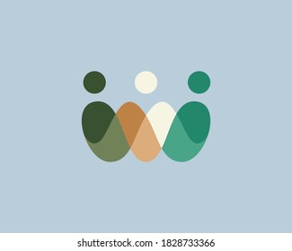 Abstract crown people colorful logo icon design minimal style illustration. Family teamwork coworking emblem sign symbol logotype.
