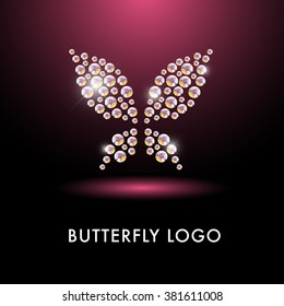 Abstract crystal logo with butterfly character. Simple fly insect icon made with rhinestone gems. Business sign. Good for floral store, cloth shop, children toys store, artistic gallery, print design.