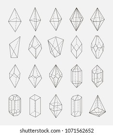 abstract crystal shapes vector outline