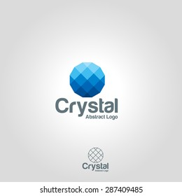 Abstract crystal symbol icon or logo design template