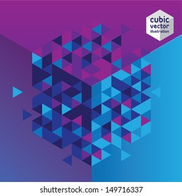 Abstract cube blue and purple design background. Layered file