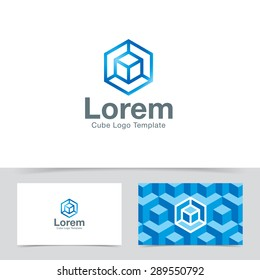Abstract cube construction logo design template. Corporate branding identity