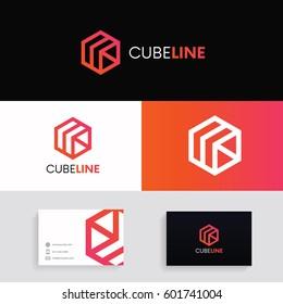 Abstract cube logo icon. Modern hexagon concept vector design.