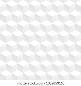 Abstract cube pattern background, White 3d box seamless background, Vector.
