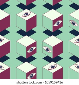 Abstract cubes with eyes. Seamless pattern. Clipping mask used.
