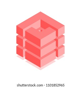 Abstract cubic icon. Isometric illustration for covers design in flat 3D style. Vector geometric logo.