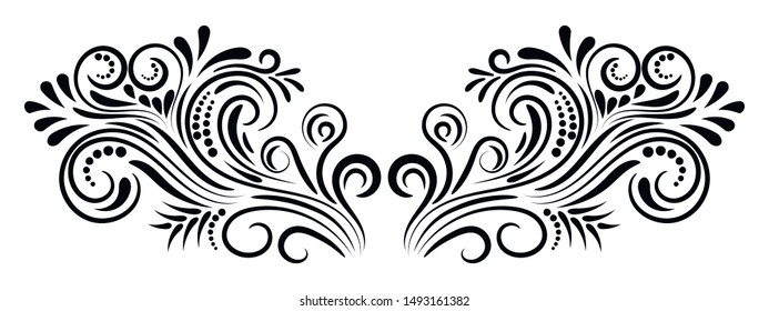 Abstract curly element for design, swirl, curl, divider. Vector illustration.
