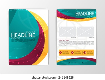 Abstract curve Brochure Flyer design-Vector illustration