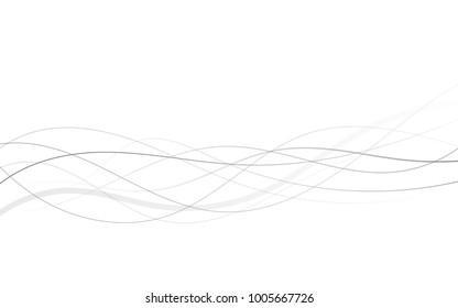 Abstract curved black lines on white
