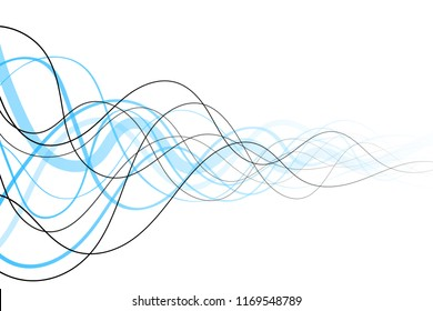 Abstract curved blue and black lines background