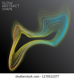 Abstract curved lines shape isolated on transparent black background. Bright colorful gradient blend creates liquid motion with transparent glow. Energy power plasma with futuristic edge blur effect.