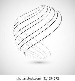 Abstract curved lines. Vector background