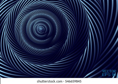 Abstract Curved Spiral Background. Dark Blue Metallic Rotating Hypnotic Pattern. Vector. 3D Illustration
