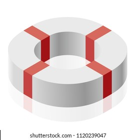 Abstract curved vector shape reminiscent of technological development, nanotechnology component. Isometric brand of scientific institution, research center, laboratories, spatial paradox