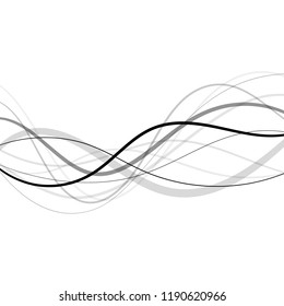 Abstract curved and wave black lines transparent background