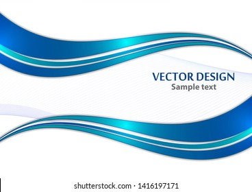 Abstract curved wavy lines with shadow, smooth stripe. Colorful shiny waves with lines created with the blend tool. Vector illustration for your design.
