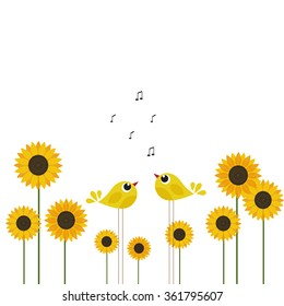 Abstract cute birds with sunflower. Spring or summer theme. Template for card.