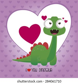 abstract cute dinosaur on a special love background