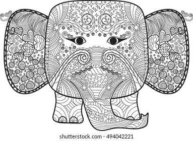 Abstract cute elephant  with doodle, Hand drawn cartoon elephant for adult anti stress coloring page. Pattern for coloring book., hand drawn design elements. Black and white T-shirt print. Batik paint