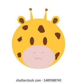 abstract cute giraffe face draw, vector illustration design