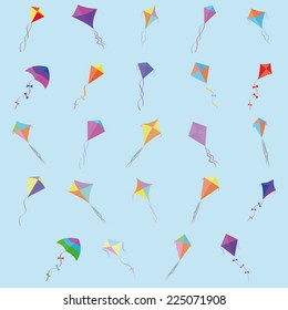 abstract cute kites on a blue background
