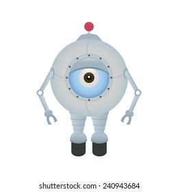 abstract cute robot on a white background