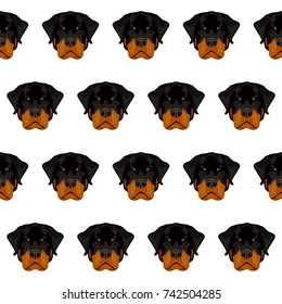 Abstract cute rottweiler dog seamless pattern background. Rottweiler dog portrait pattern for design textile, t shirt, veterinary clinic poster, gift card, bag, art workshop advertising etc.