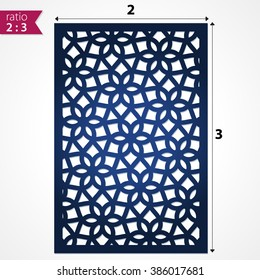 Abstract cutout panel for laser cutting, die cutting or stencil. Vector filigree pattern for wedding invitation card. Laser cut vector panel. Design template for laser cut card. Vector laser cut.