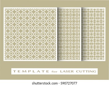 Abstract cutout panels set for laser cutting. Vector openwork filigree template for wedding invitation, greeting card, envelope. Interior decorative element with lace ornament