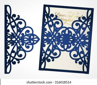 Abstract cutout wedding invitation. Suitable for lasercutting. Lazercut wedding  invitation card. Lazer cut vector. Lace folds. Wedding invitation mockup. Die cut card wedding invitation template.