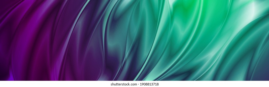Abstract cyan violet liquid flowing elegant waves banner design. Smooth silk wavy header background. Vector tech illustration