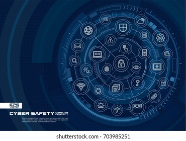 Abstract cyber security background. Digital connect system with integrated circles, glowing thin line icons. Virtual, augmented reality interface concept. Vector future infographic illustration