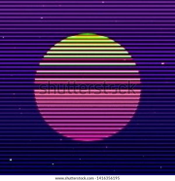 Abstract Cyberpunk Background Striped Alien Sun Stock Vector