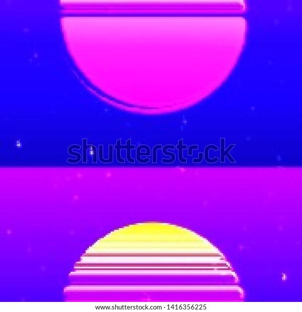 Abstract Cyberpunk Background Striped Alien Sun Royalty Free